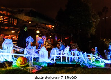 Sierra Madre, OCT 31: Super Halloween decoration on OCT 31, 2014 at Alegria Avenue, Sierra Madre, Los Angeles County, California, United States
