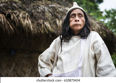 Sierra Nevada de Santa Marta, Colombia - March 8, 2014: Kogi Mamas (shaman) chewing coca leaves in front of a hut in the forest in the Sierra Nevada de Santa Marta, Colombia