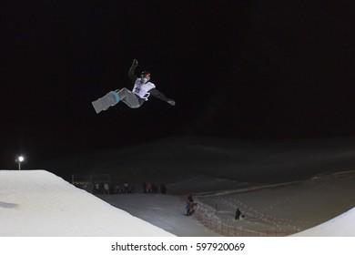 SIERRA NEVADA, SPAIN - MARCH 11 , 2017: FIS Freestyle Ski World Championships 2017. Men' Snowboard Halfpipe. Training.