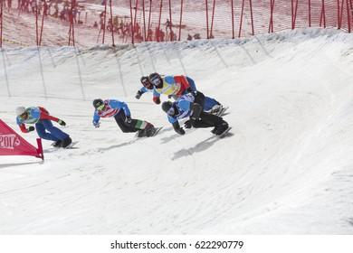 SIERRA NEVADA - SPAIN: MARCH 12, 2017: FIS Freestyle Ski and Snowboard World Championship 2017. Smallfinal men´s snowboard Cross.