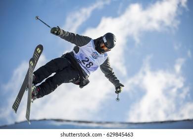 SIERRA NEVADA - SPAIN: MARCH 15, 2017: FIS Freestyle Ski and Snowboard World Championship 2017. Ladies and men's halfpipe training. EGOROV Roman RUS