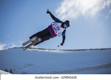 SIERRA NEVADA - SPAIN: MARCH 15, 2017: FIS Freestyle Ski and Snowboard World Championship 2017. Ladies and men's halfpipe training. JANG Yu-Jin KOR