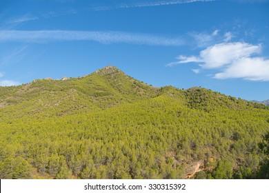 Sierras de Tejeda, Almijara y Alhama Mountains near Nerja, Spain.