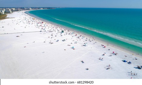 Siesta Key Beach in Sarasota Florida shot by aerial drone. #1 Beach in the USA.