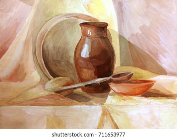 Sieve and rustic items on the table still life