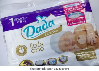 SIEVIERODONETSK, UKRAINE - FEBRUARY 17, 2018: newborn infant size DADA diapers packaging product photo against white background. Illustrative Editorial