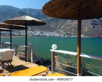Sifnos, Greece port town of Kamares on Greek Cyclades island  in Mediterranean Sea