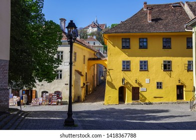 Sighisoara, Romania - August 22, 2016: View of the ocher-colored house - the birthplace of Vlad Dracula. It was he who inspired Bram Stoker to the fictional creation of Count Dracula