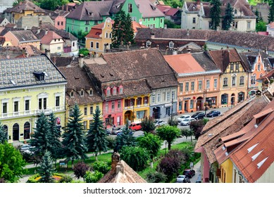 Sighisoara, Romania - July 12, 2017: Aerial view of old town area of Sighisoara seen from the Clock Tower.