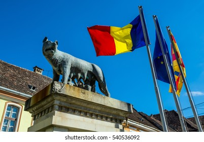 Sighisoara, Romania - July 4, 2016: statue of she-wolf suckling Romulus and Remus in Sighisoara town