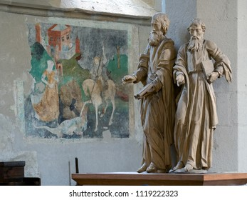 Sighisoara, Romania - June 27, 2017 : Statues and frescoes inside Church on the Hill, a gothic medieval church dominating by its massiveness the entire city