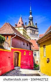 Sighisoara, Romania. Medieval citadel, located in the historic region of Transylvania, built by  Transylvanian Saxons.