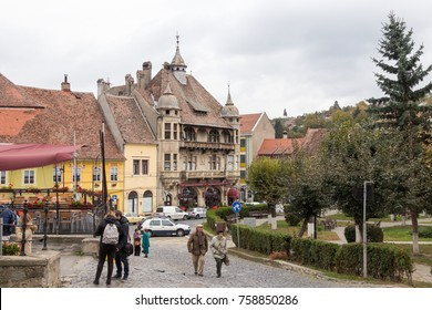 Sighisoara, Romania, October 08, 2017 : Fragment of Hermann Oberth square, near to the entrance to the old town in Sighisoara city in Romania