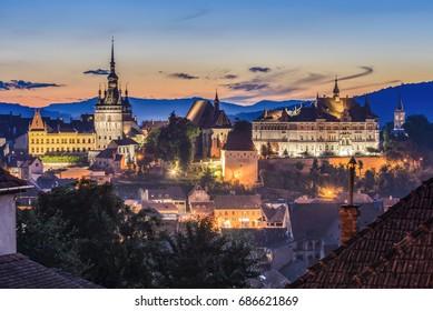 Sighisoara at sunset time, Transylvania, Romania