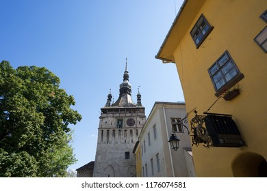 Sighisoara, Transylvania, Romania, August 13,2018. Famous medieval fortified city and the Clock Tower