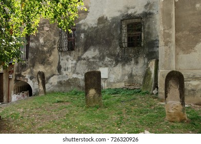 Sighisoara, Transylvania, Romania - September 12, 2017: medieval gravestones near the ramparts.
