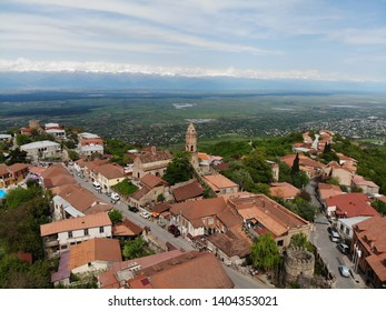 Sighnaghi, Georgia - 10 may 2019: Aerial view of beautiful city of love Sighnaghi