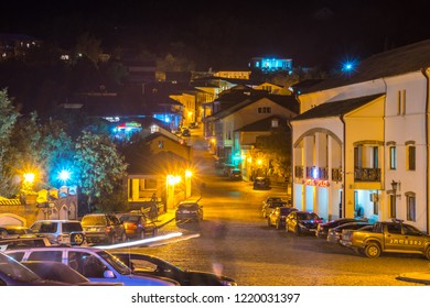Sighnaghi, Georgia - 29.09.2018: Sighnaghi aerial view at night, Kakheti region.