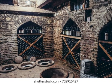 Sighnaghi, Georgia - April 24, 2015. Kvevri vessels for wine production in wine cellar of Pheasantâ??s Tears winery in Sighnaghi, small town in Kakheti district