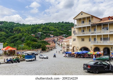 SIGHNAGHI, GEORGIA - JULY 20, 2014: Central part in Sighnaghi, Georgia. Sighnaghi is a popular touristic destination in Georgia and also the capital of wine and carpet indusry