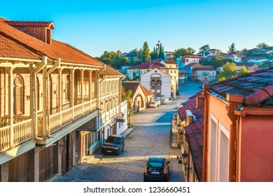 Sighnaghi, Kakheti - 30.09.2018: Street in medieval town Sighnaghi or Signagi.  Also known as city of Love.