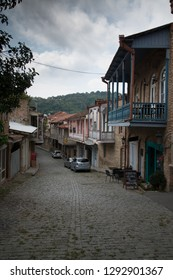 Sighnaghi, Kakheti, Georgia - Circa August 2018: View on the streets of medieval Georgian town Sighnaghi, the wine region in Georgia.