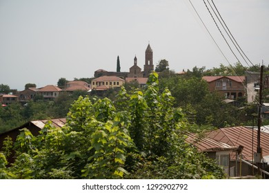 Sighnaghi, Kakheti, Georgia - Circa August 2018: View on the medieval Georgian town Sighnaghi, the wine region in Georgia.