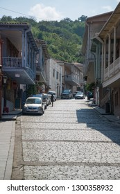 Sighnaghi, Kakheti, Georgia - Circa August 2018: Street in medieval Georgian town Sighnaghi, the wine region in Georgia.