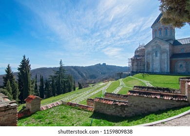 Sighnaghi, Kakheti, Georgia - March 18, 2018: Monastery of St. Nino at Bodbe is a Georgian Orthodox monastic complex and the seat of the Bishops of Bodbe