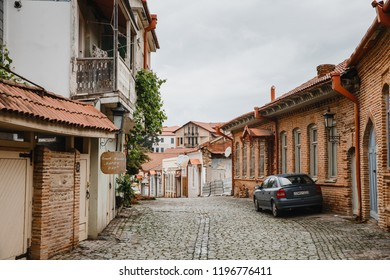 Sighnaghi, Kakheti, Georgia - May 13, 2018: Street in medieval town Sighnaghi. Sighnaghi or Signagi is a heart of Georgia's wine-growing regions. Also known as city of Love