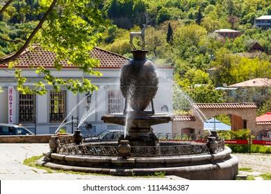 Sighnaghi, Kakheti, Georgia - May 2, 2018: Fountain in center of Sighnaghi (Signagi) city at Kakheti, Georgia