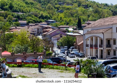 Sighnaghi, Kakheti, Georgia - May 2, 2018: Street in medieval town Sighnaghi. Sighnaghi or Signagi is a heart of Georgia's wine-growing regions. Also known as city of Love