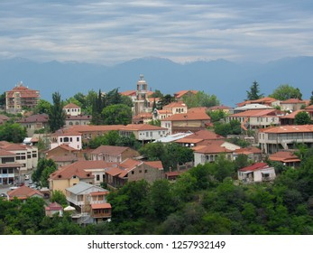 Sighnaghi picturesque town in Georgia's wine region Kakheti and center of the Sighnaghi Municipality in Georgia, Alazani valley, Kakheti, Georgia, Caucasus. Popular tourist destination