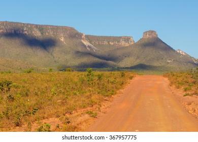 Sight of the Espirito Santo Ridge in Jalapao State Park, Tocantins, Brazil.  Brazilian savanna.