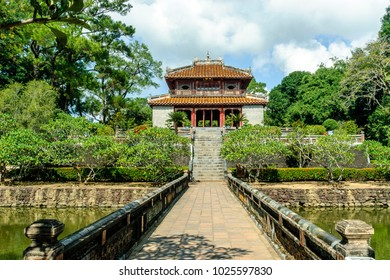 sight of the interior of the complex of the tomb  of the emperor Minh Mang in Hue, Vietnam.