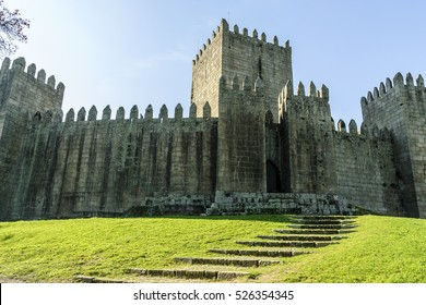 sight of the medieval castle of Guimaraes's city in portugal.