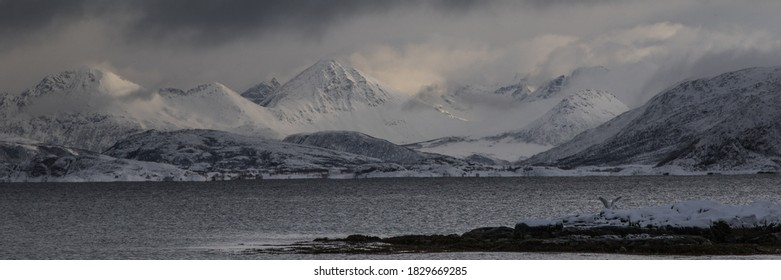 Sight on mountains during snowfall