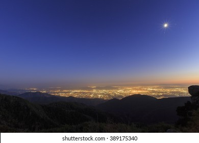 Sight seeing over San Bernardino at sunset time