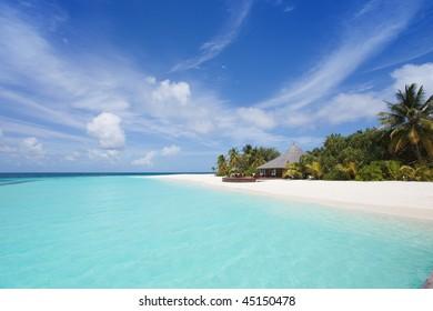 A sight upon the beach of a maldivian island