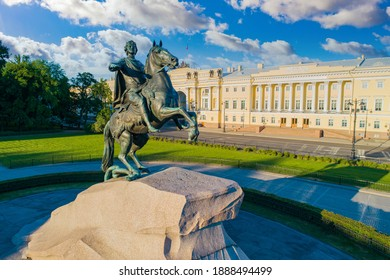 Sights Of Saint-Petersburg. Russian cities in summer. Bronze horseman on a beautiful sky background. Copper rider from the drone. Monument To Peter The Great. Monument to the founder of Petersburg.