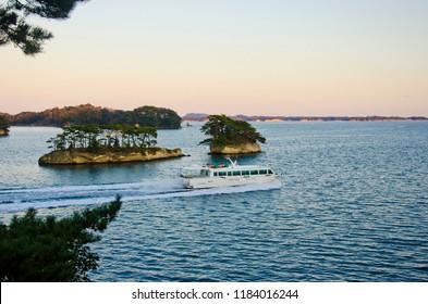 Sightseeing boat at Matsushima bay, Miyagi prefecture, Japan.