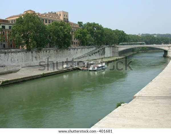 Sightseeing boat on the Tiber River, Rome, Italy