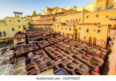 Sightseeing of Morocco. Tanneries of Fez. Dye reservoirs and vats in traditional tannery of city of Fez, Morocco