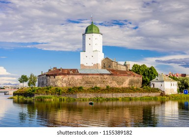Sightseeing of Russia. Vyborg castle - medieval castle in Vyborg town, a popular architectural landmark, Vyborg, Russia