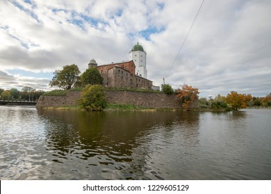 Sightseeing of Russia. Vyborg castle - medieval castle in Vyborg town, a popular architectural landmark, Vyborg, Russia, 04.10.2018