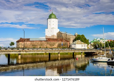 Sightseeing of Russia. Vyborg castle - medieval castle in Vyborg town, a popular architectural landmark, Russia