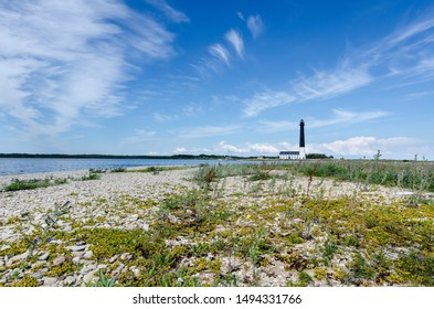 Sightseeing of Saaremaa island. Sõrve lighthouse is a popular landmark and scenic location on the Baltic sea coast, Saaremaa island, Estonia