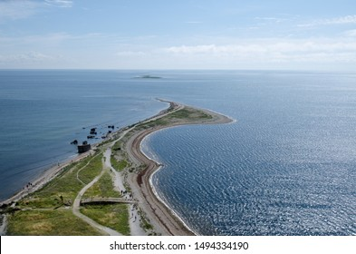 Sightseeing of Saaremaa island. Wiew in the top of Sõrve lighthouse location on the Baltic sea coast, Saaremaa island, Estonia