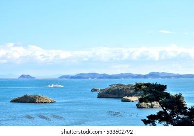 Sightseeing ship to navigate Matsushima bay.