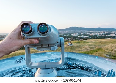 Sightseeing tourist telescope, Calvary, Nitra, Slovak republic. Relaxing tourists. Travel destination.